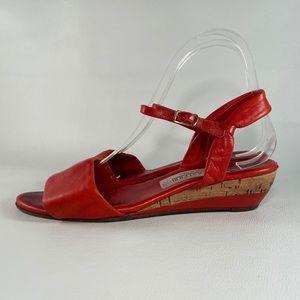 Vintage Nordstrom Red Leather Wedge Sandals
